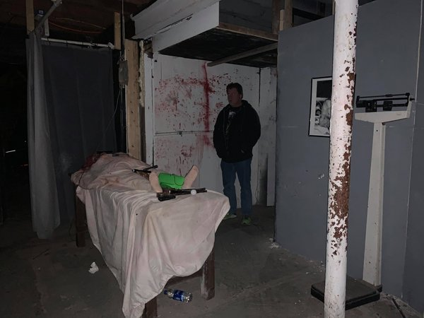Paranormal Investigator Robert Murphy in the basement of the Haunted House at the KOA in Williamsport MD