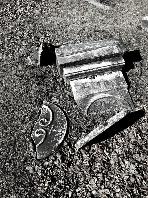 forgotten time, old cemetery, headstone in ruin